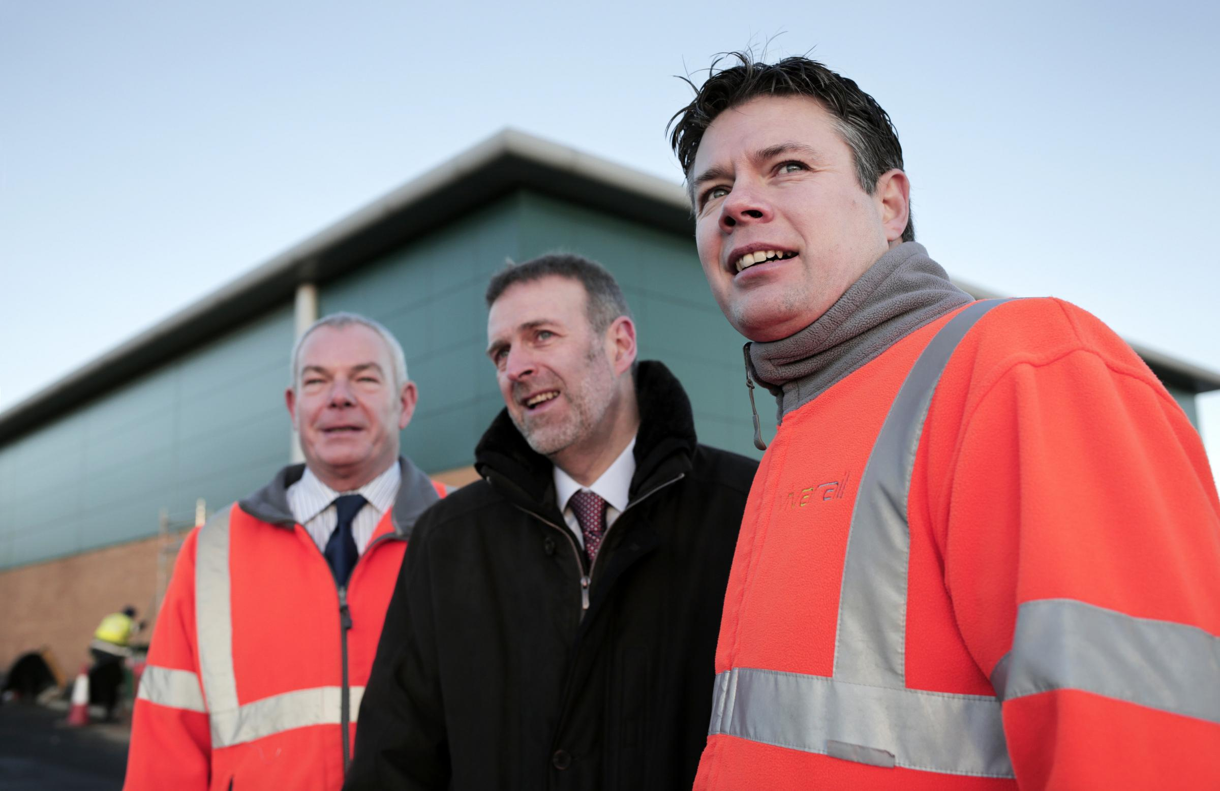 ARRIVAL: Vivarail's Rob Mason, left, and Steve Rowell, with Business Durham's Peter Rippingale at the firm's new Seaham base