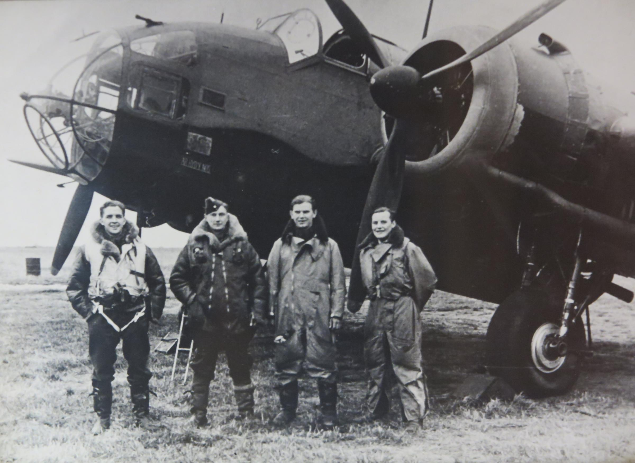 Mr Hedley, second from right, with the crew of his Hampden bomber