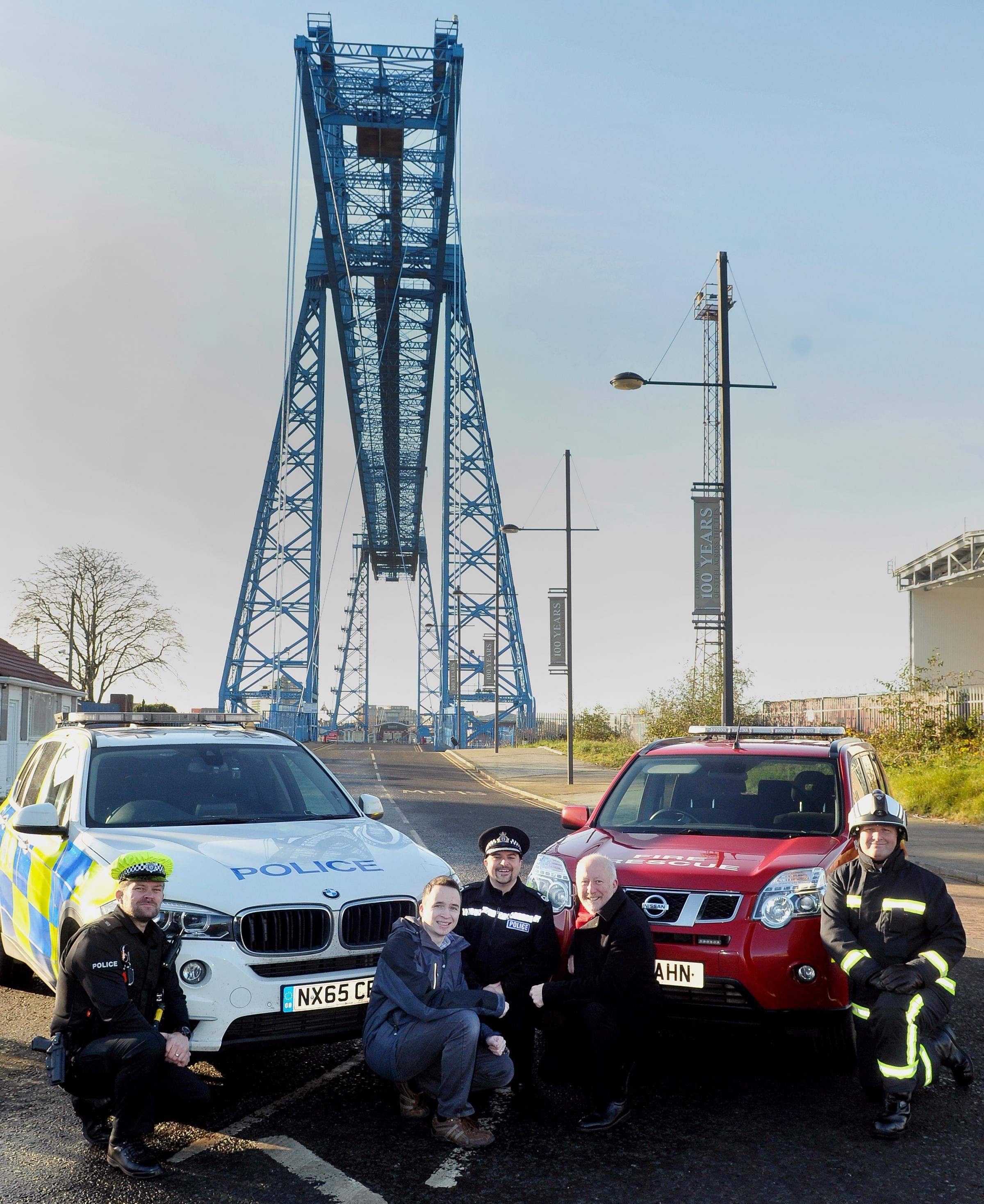SUPPORT: Left to right, PC Lee Wilson from the Cleveland and Durham Specialist Operations Unit, David Robinson, chairman of RoadPeace North East, Rob Lynas, assistant chief officer of specialist constabulary