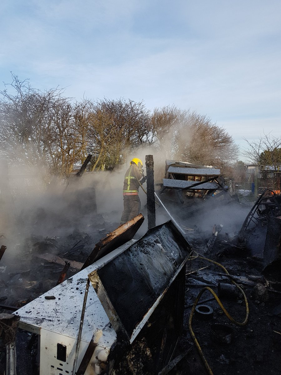 DAMAGE: Fire destroyed two sheds on an allotment at Easington Colliery