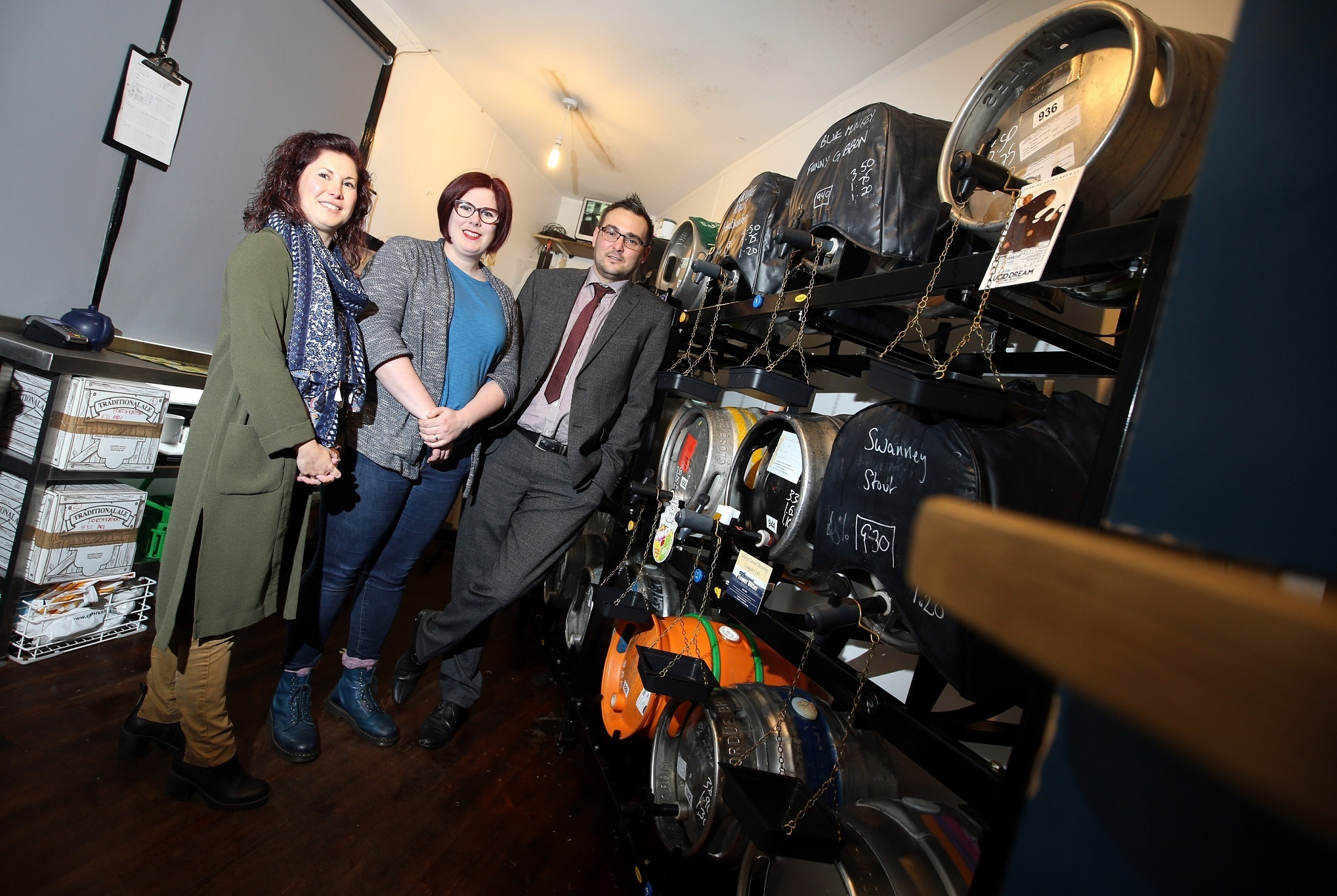 CHEERS: (l-r) Sarah Billingham, Durham County Council project officer; Susannah Mansfield, director and landlady of The Station House; and Cllr Carl Marshall, Durham County Council's Cabinet member for economic regeneration