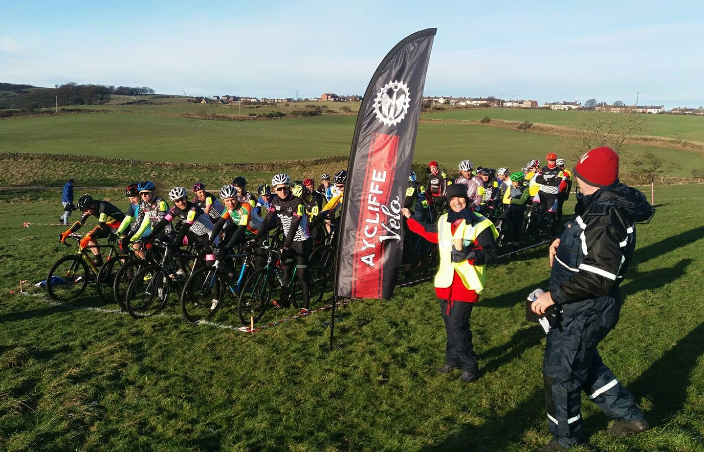 Competitors get ready for the start of the Aycliffe Velo cyclocross event near Crook Picture: AYCLIFFE VELO