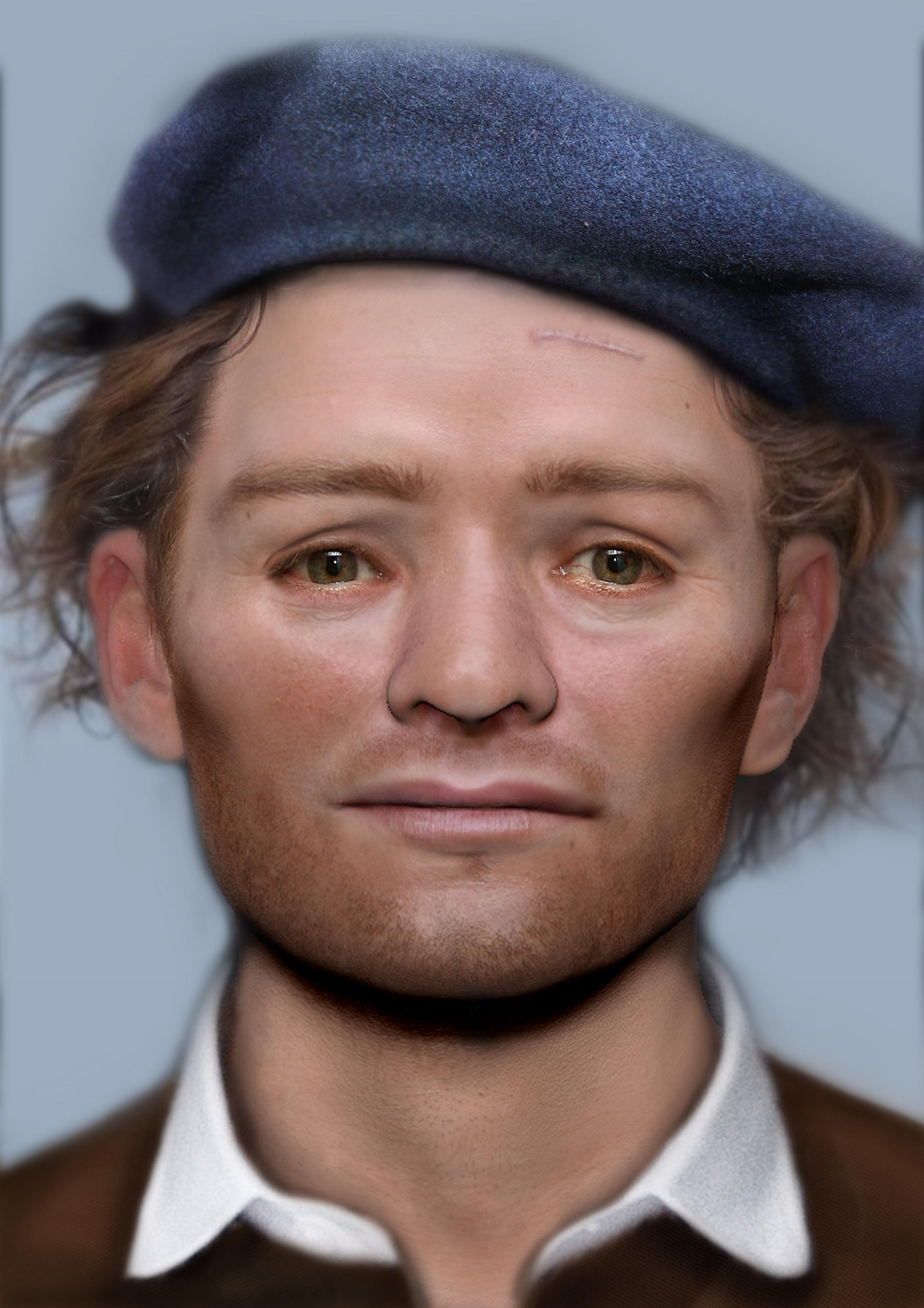 FACE: The face of one of the Scottish soldiers who was imprisoned and died in Durham following the Battle of Dunbar in 1650 Picture: Face Lab LJMU