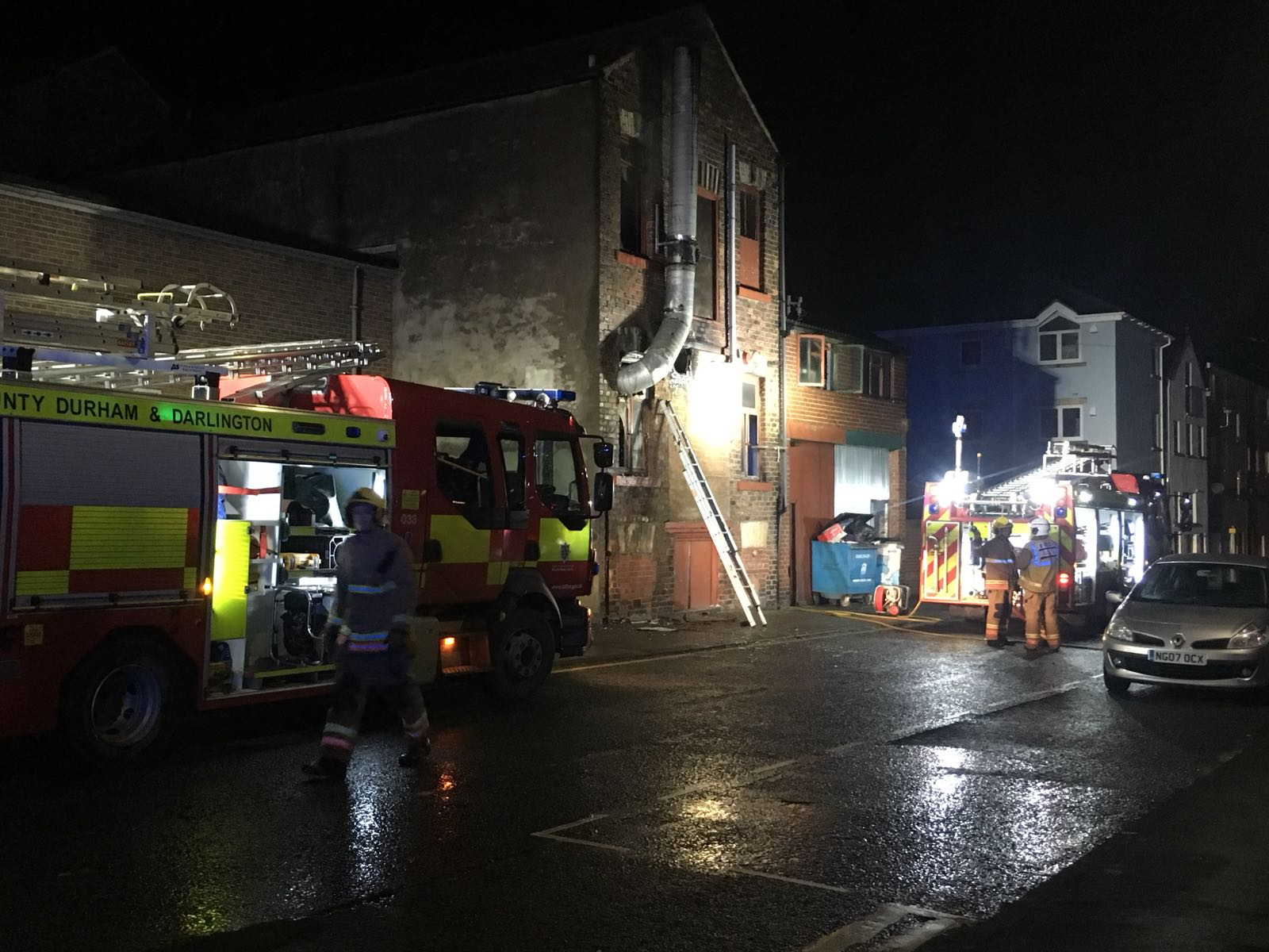 Fire crews at the incident at the rear of Northgate, Darlington. Picture: GRAEME HETHERINGTON