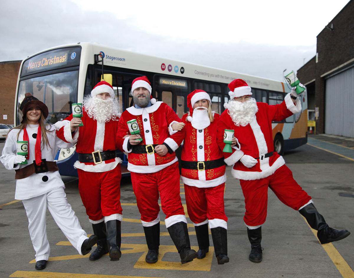 CHEER: From left, Chloe Gray, Paul Keenan, Geordie Richardson, Michelle Rice and Tony Shaw in their festive costumes