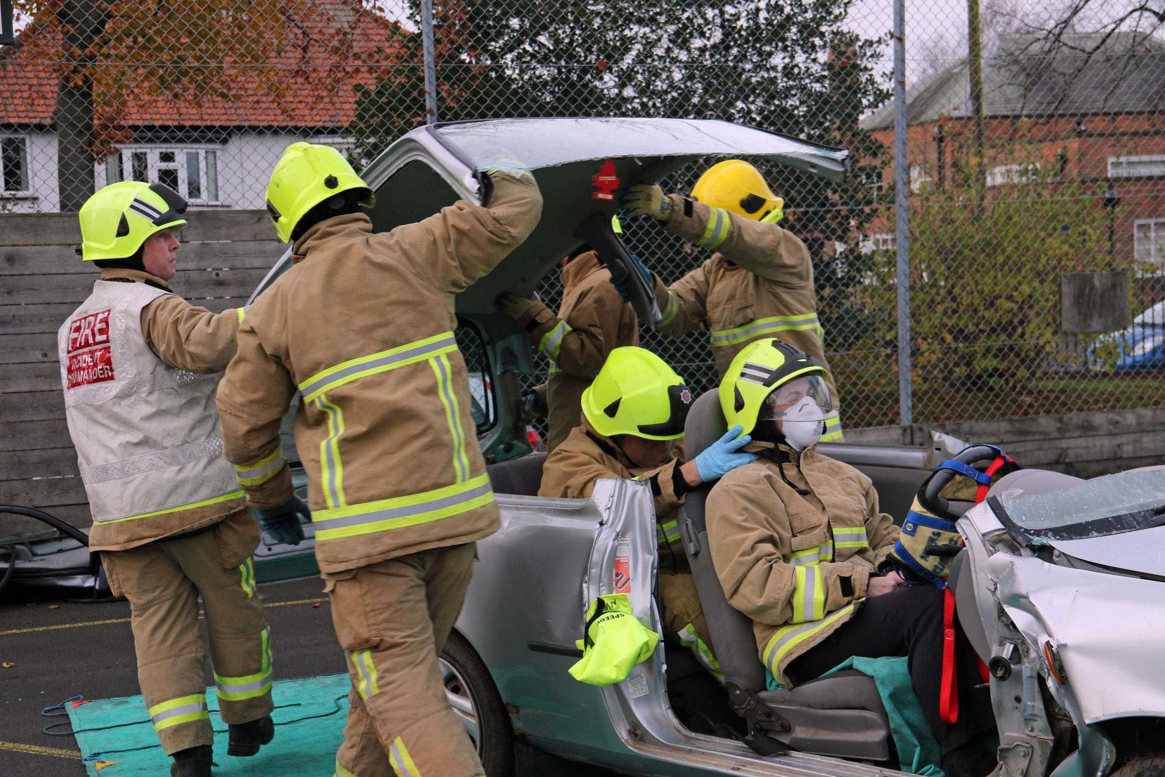 SAFE: Northallerton School and Sixth Form College teacher Kathryn Redpath is cut free from a wrecked car in an exercise designed to promote safe driving among the young.