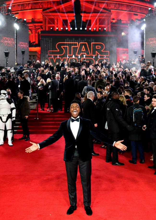 John Boyega attending the european premiere of Star Wars: The Last Jedi held at The Royal Albert Hall, London. PRESS ASSOCIATION Photo. Picture date: Tuesday December 12, 2017. See PA story SHOWBIZ StarWars. Photo credit should read: Matt Crossick/PA Wire