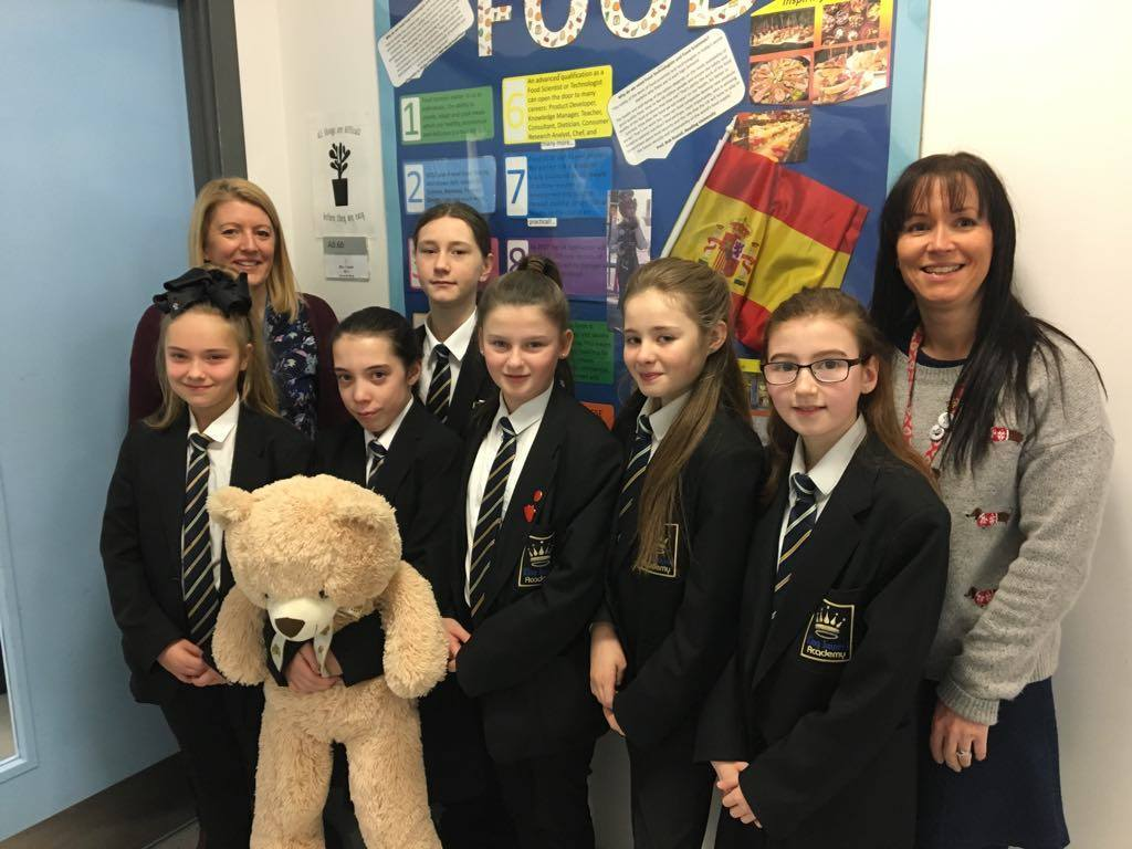 SUPPORT: Demi-Leigh Proud, front, second left, with her friends and form tutor Justine Lamb and assistant headteacher Joanne Aitkin at King James I Academy