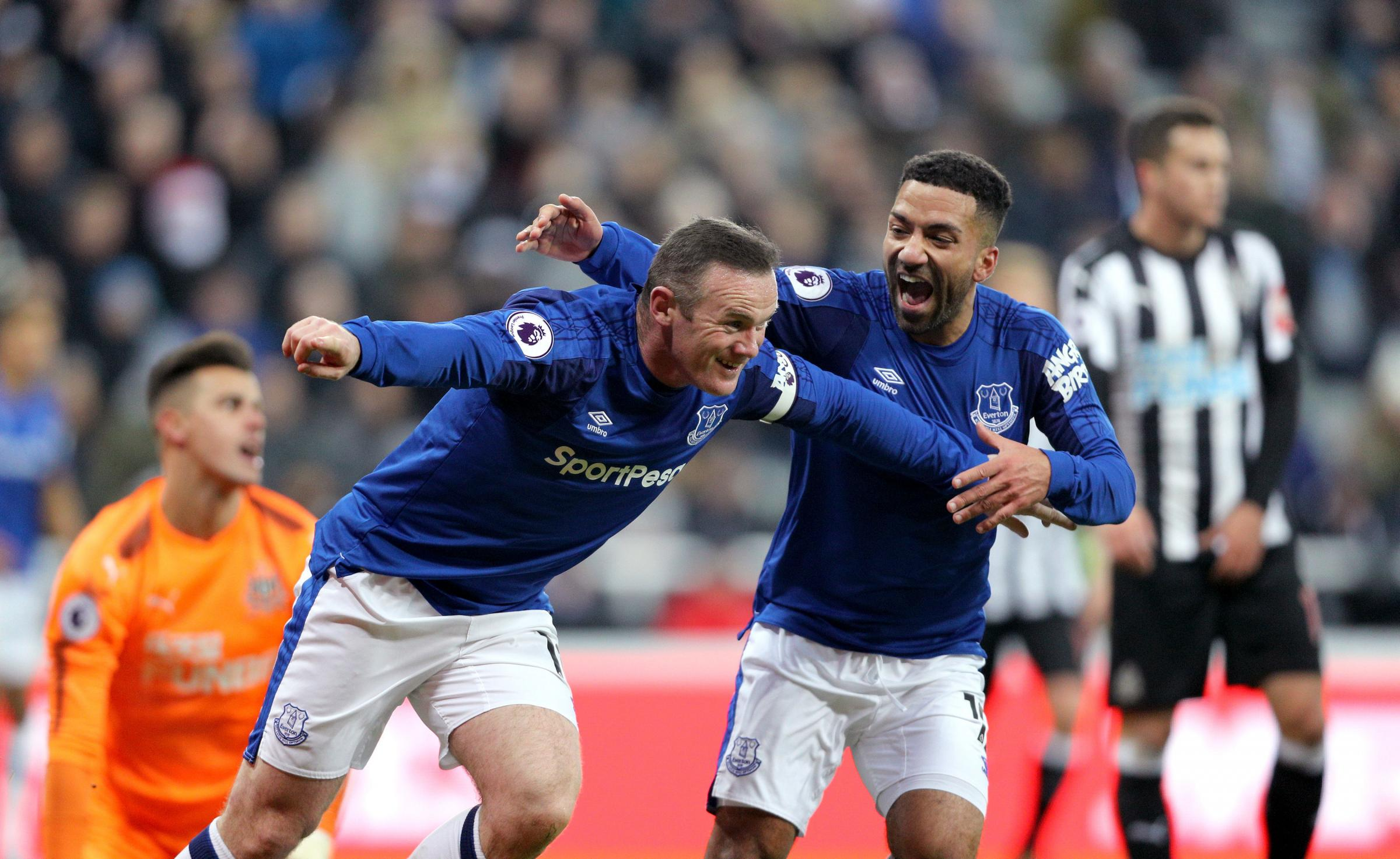 Everton's Wayne Rooney celebrates scoring his side's first goal of the game during the Premier League match at St James' Park, Newcastle. PRESS ASSOCIATION Photo. Picture date: Wednesday December 13, 2017. See PA story SOCCER Newcastle. Photo