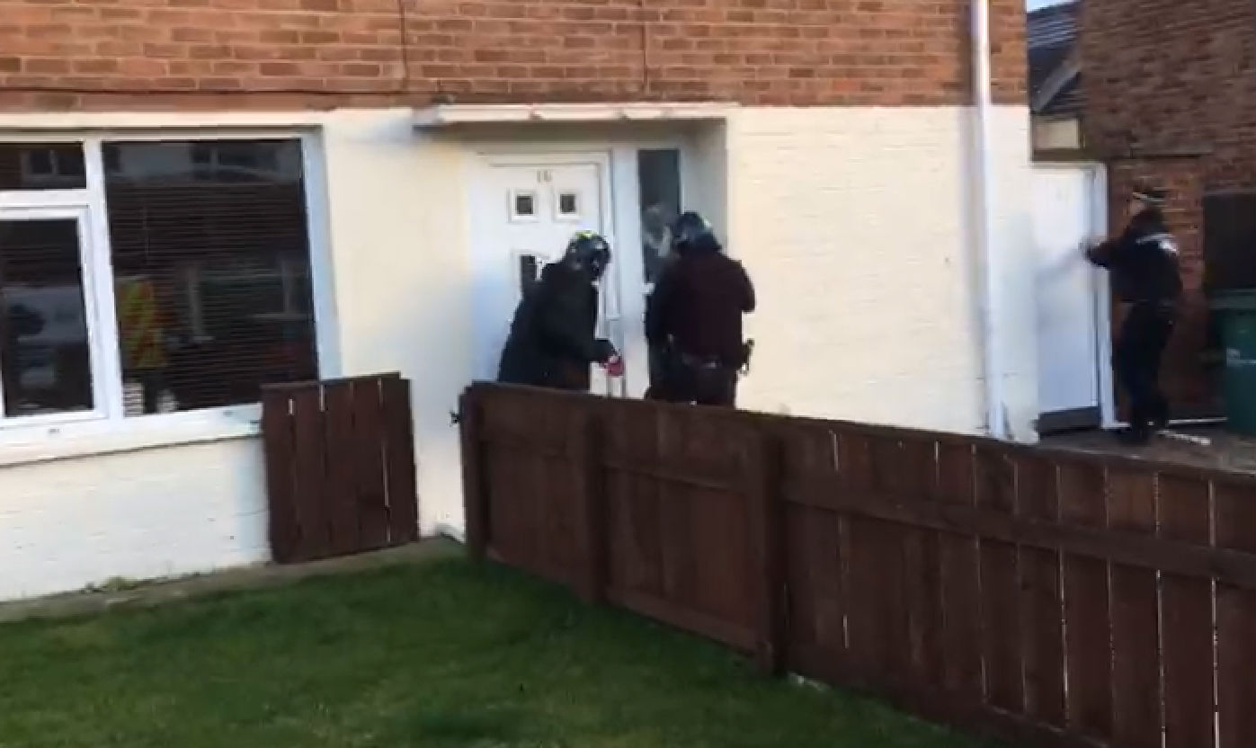 RAID: Police executing drugs warrants in Stockton this morning Picture: Julia Breen
