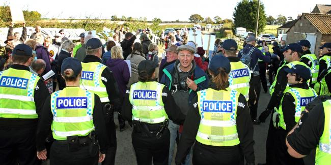 POLICING: Police at the fracking site at Kirby Misperton earlier this year. Picture: RICHARD DOUGHTY
