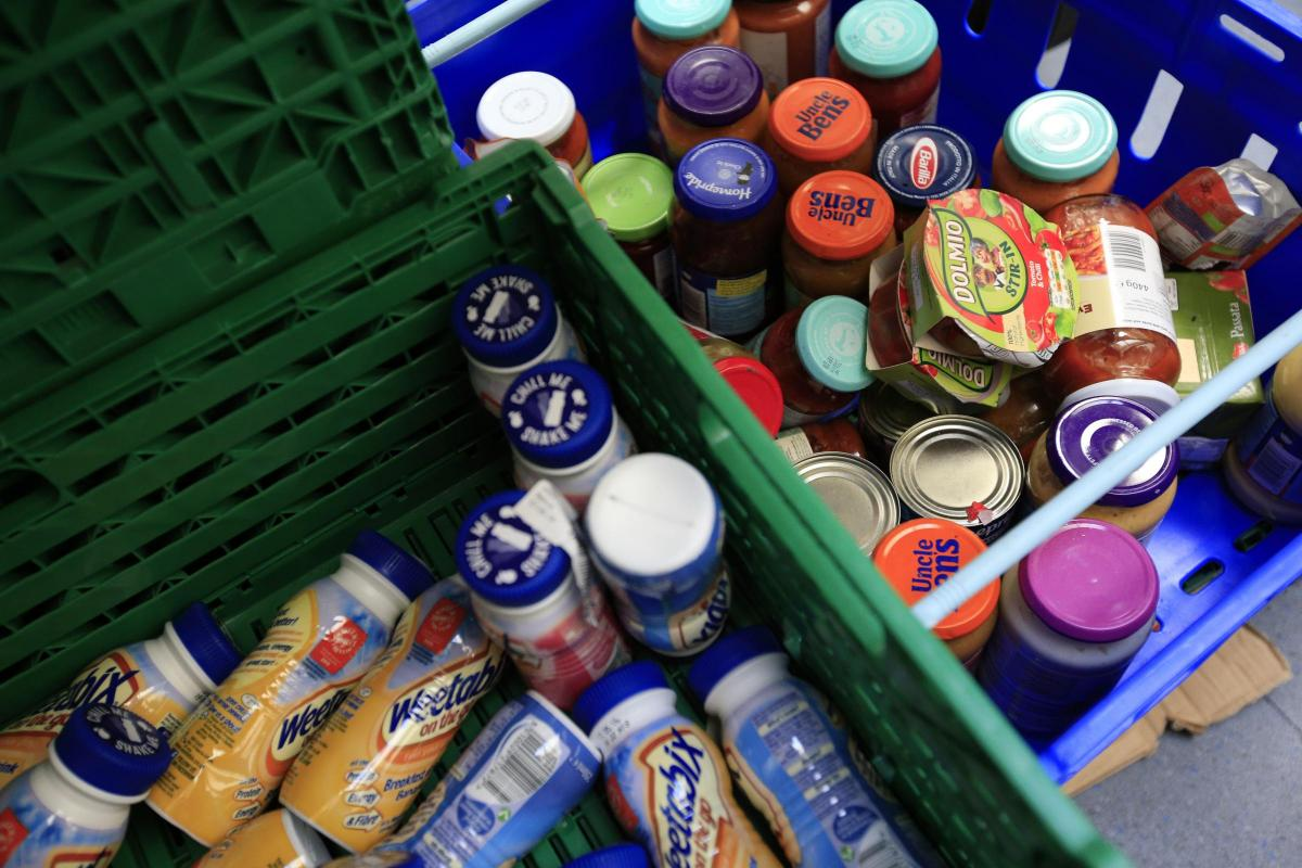 Stocks of food at a foodbank. Picture: PA
