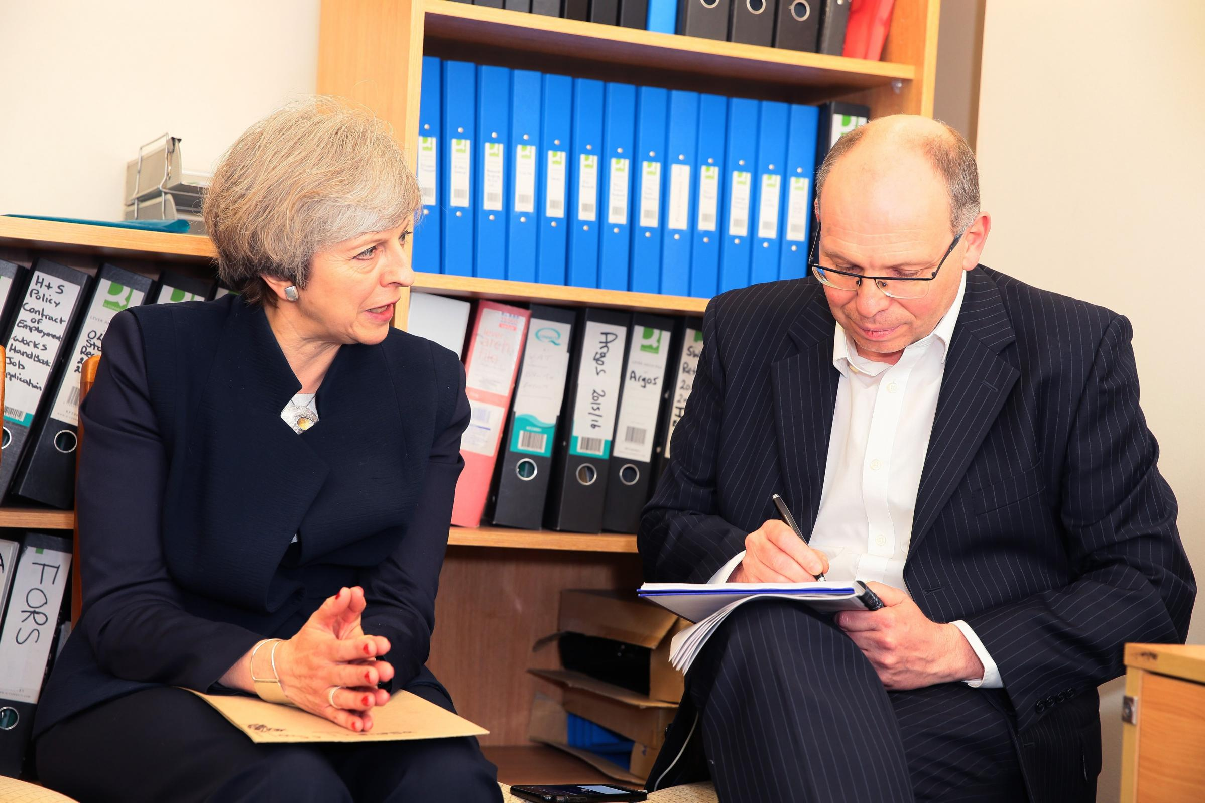 VISIT: PM Theresa May visits Davies Transport in Darlington tonight she is pictured with Chris Lloyd Picture: SARAH CALDECOTT