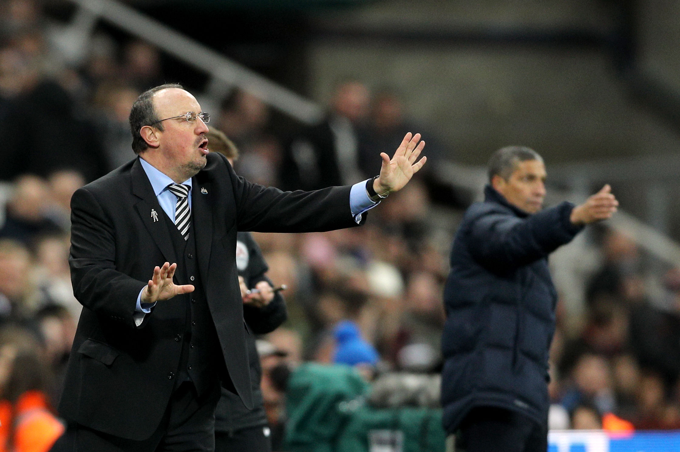 ISSUING INSTRUCTIONS: Rafael Benitez prowls the touchline during Newcastle's goalless draw with Brighton (Picture: Owen Humphreys/PA Wire)