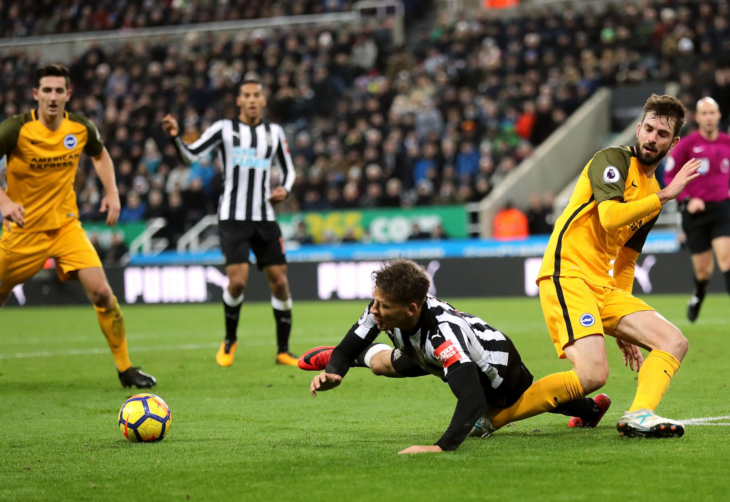 GOING DOWN?: Dwight Gayle takes a tumble during Newcastle's goalless draw with Brighton (Picture: Owen Humphreys/PA Wire)