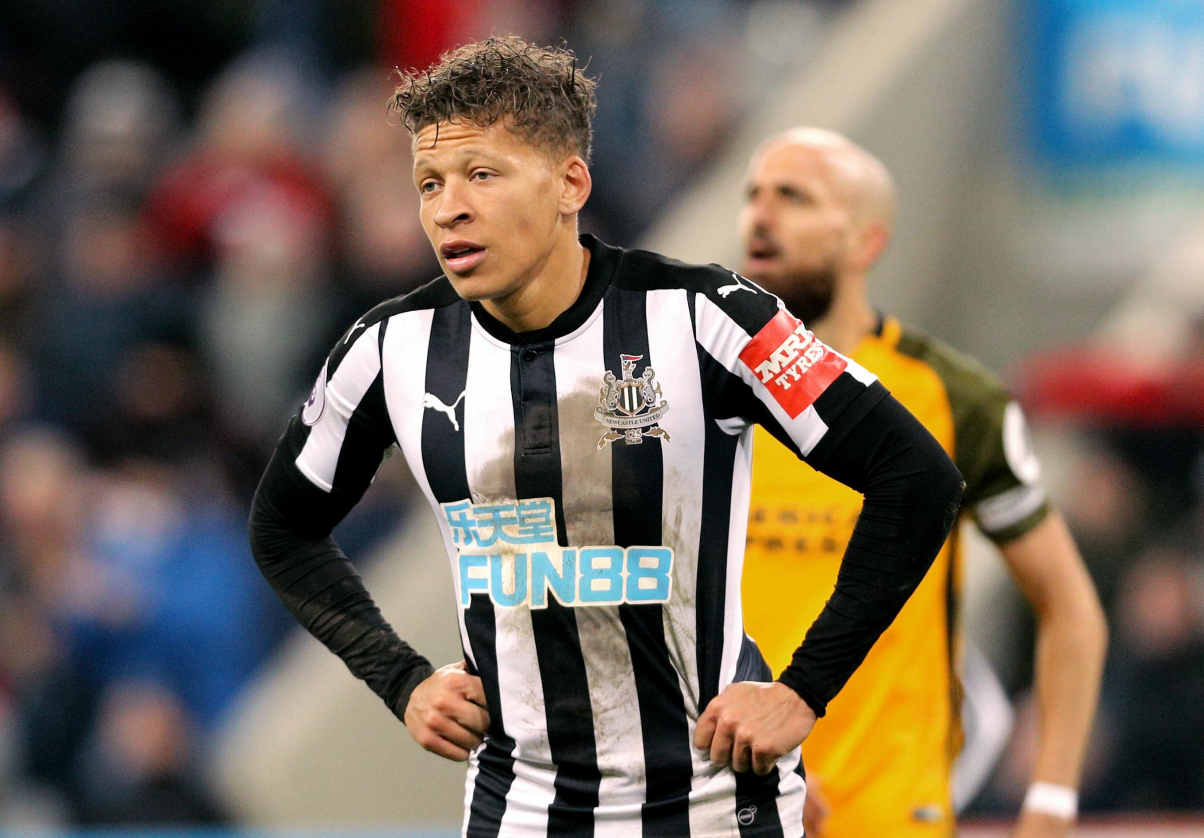 DISAPPOINTED: Dwight Gayle shows his frustration during Newcastle's goalless draw with Brighton (Picture: Owen Humphreys/PA Wire)
