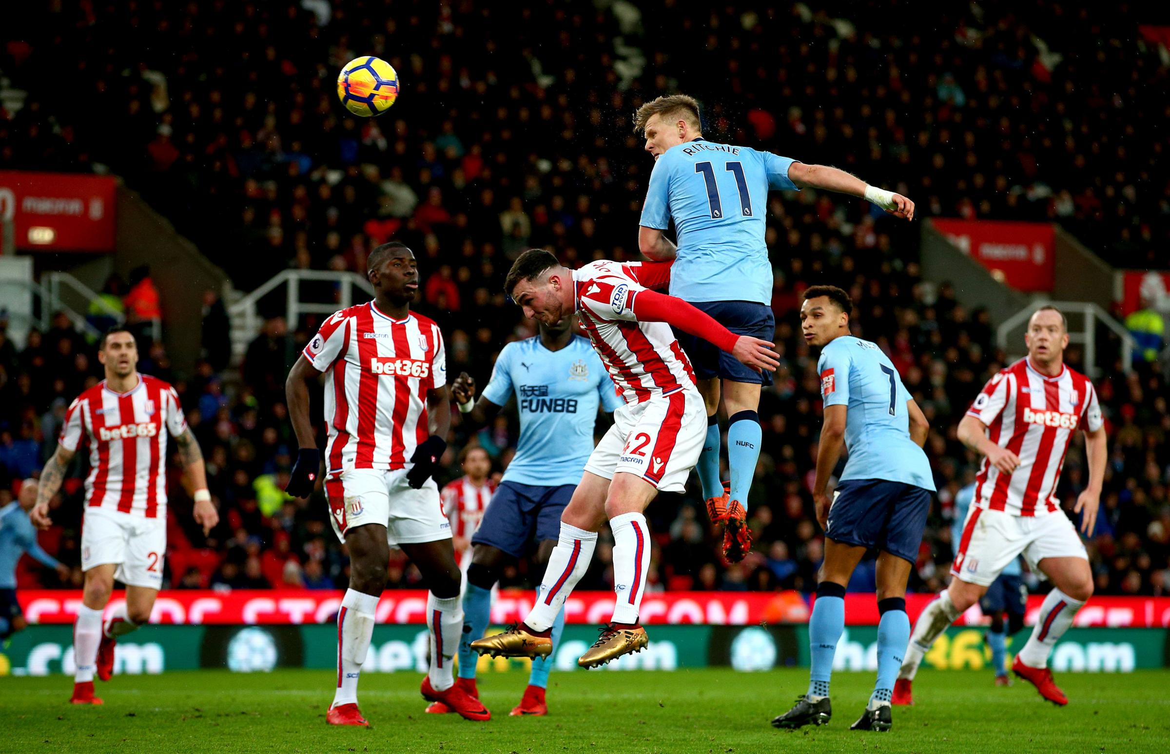 RISING HIGH: Matt Ritchie heads towards goal in Newcastle's 1-0 win at Stoke (Picture: Dave Thompson/PA Wire)