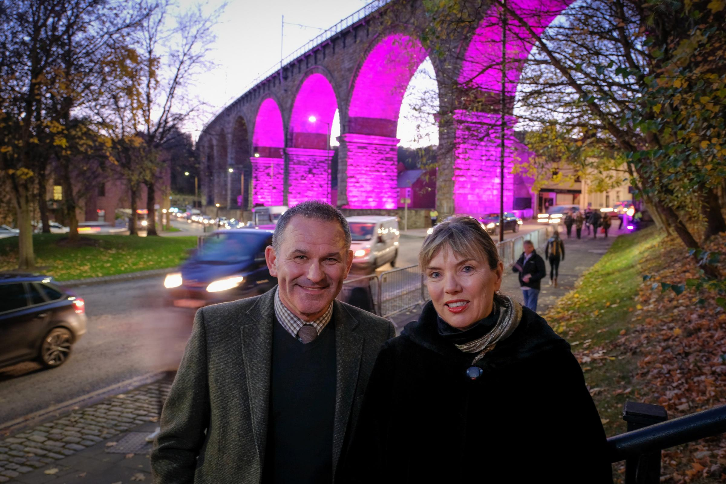 Allan Cook (left) and Sarah Coop (right) in front of the Railway Arches during Lumiere 2017, which will be home to a permanent legacy installation Picture: KEITH TAYLOR