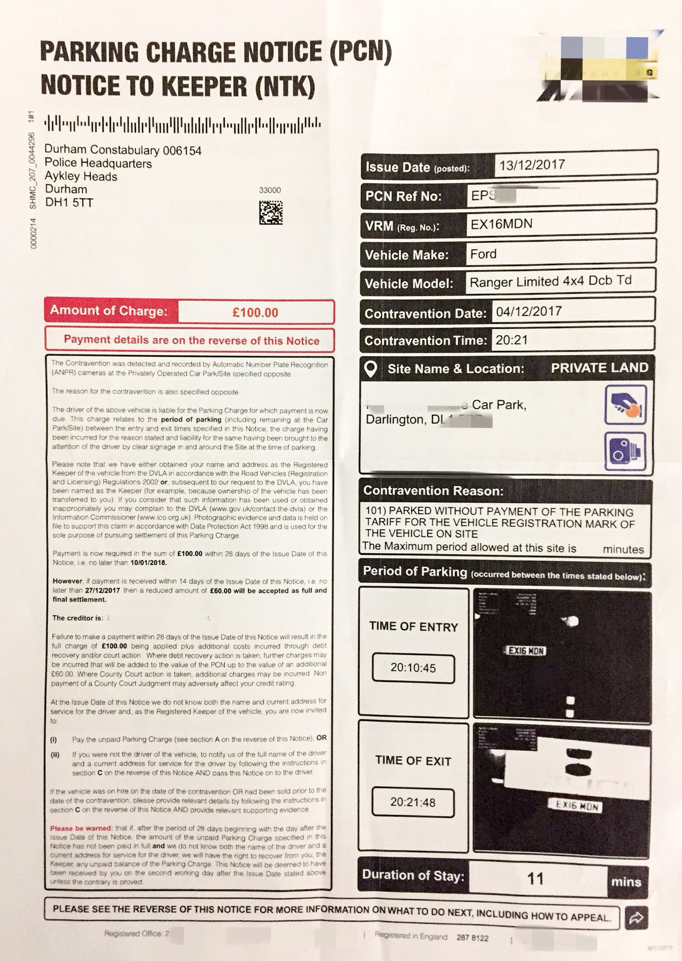 The copy of the parking fine issued to the driver of a marked police car responding to an emergency incident. Picture: PC3586/Twitter