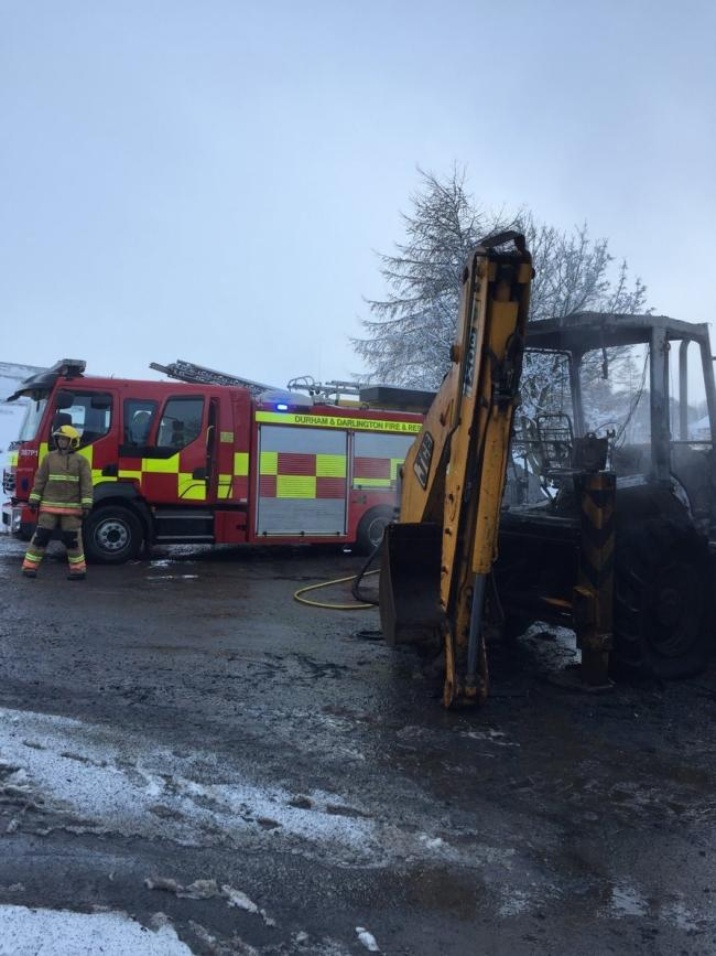 FIRE: A JCB overheated and caught fire at a salt storage depot near St John's Chapel Picture: CDDFRS