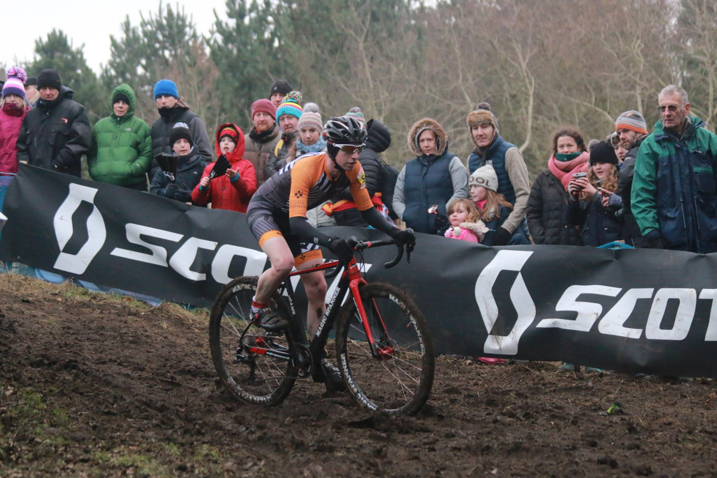 A rider tackles a downhill descent at the British Cyclo-cross championships at Hetton Lyons Country Park. Picture: MATT WESTCOTT