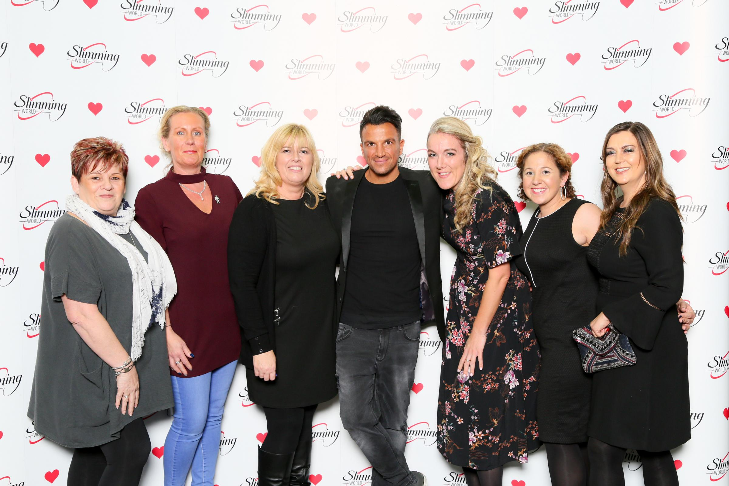 WINNERS: Slimming World Consultants meet singer and presenter Peter Andre: Elaine Lamb, Victoria Turner, Amanda Langcake, Melanie Preece, Emma Richardson, Rebecca Bousfield