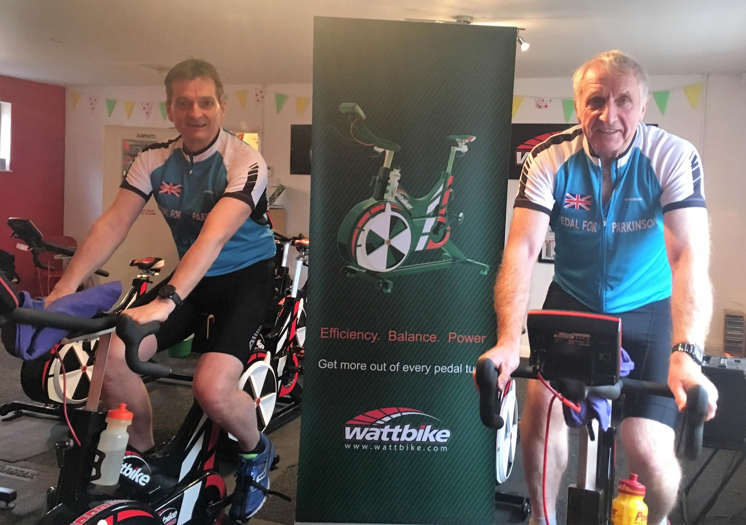 Chris I'Anson and Chris Brown MBE in training for the cycle of a lifetime