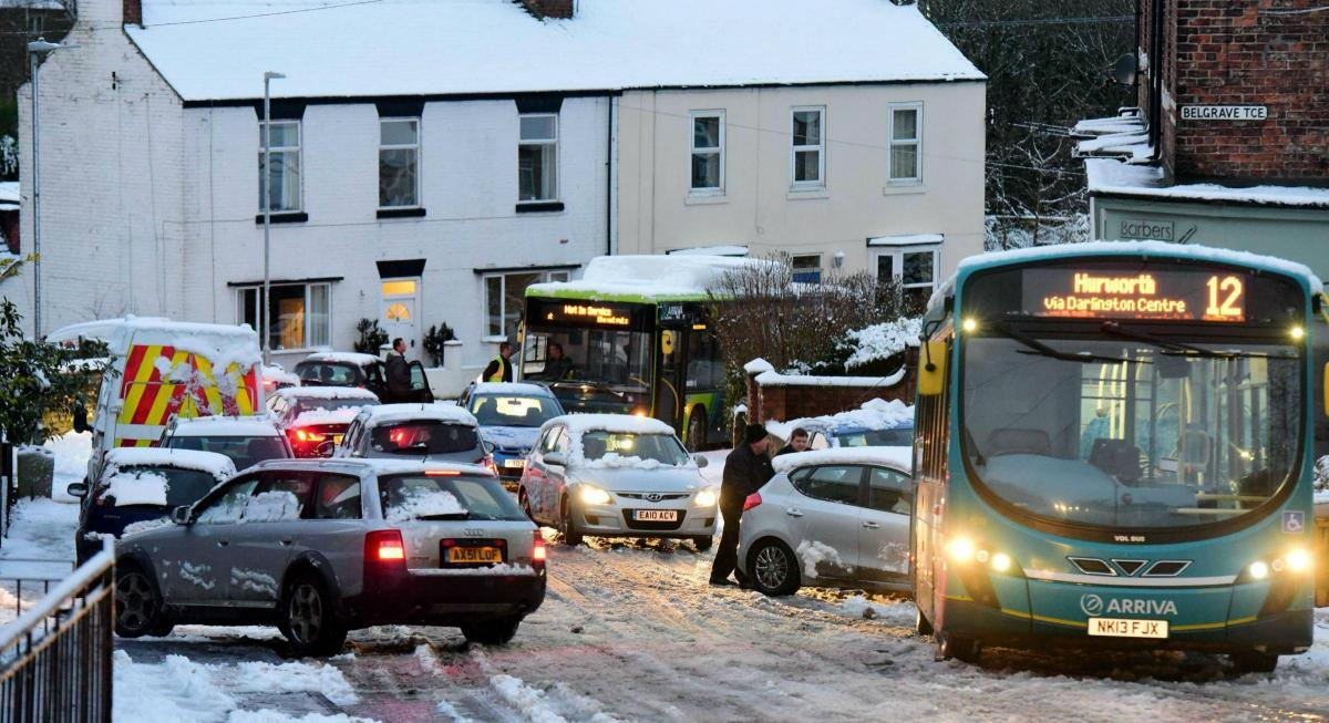 Buses, cars and vans were caught out by the treacherous conditions on a stretch of Hurworth Road, between The Comet pub and Rockliffe Hall, in Hurworth, near Darlington. Picture: NNP
