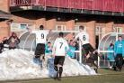 Reece Styche (No. 9) celebrates his goal by diving into a pile of snow. Picture: STUART BOULTON