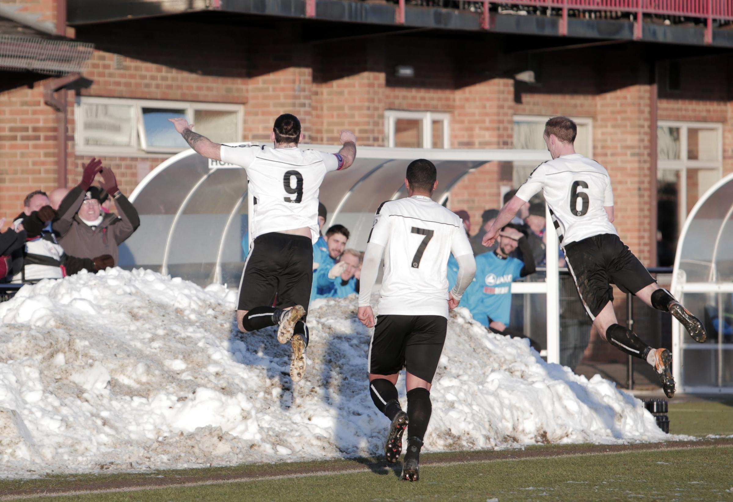 CASH BONUS: Reece Styche jumps into the snow at Blackwell Meadows