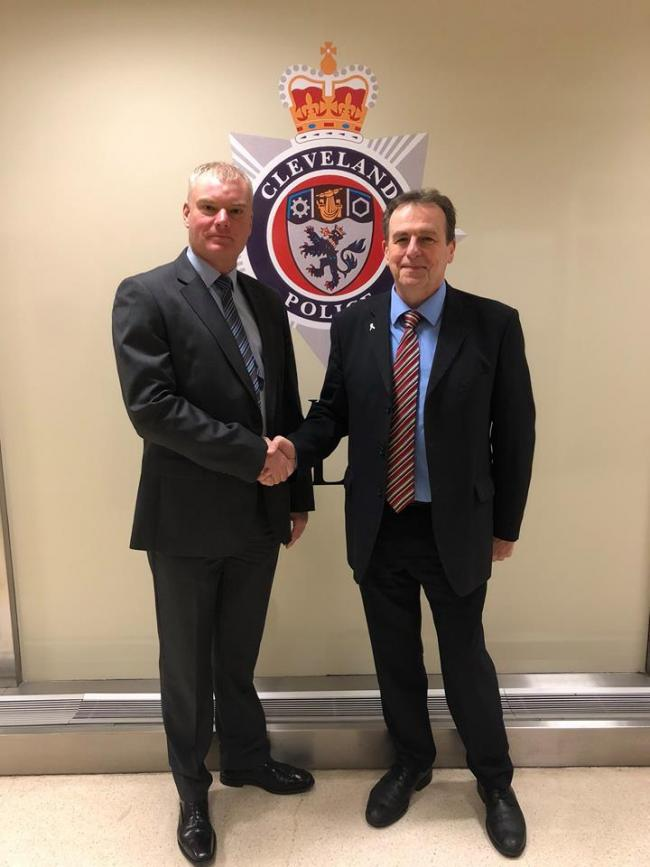 Mike Veale and Cleveland police and crime commissioner Barry Coppinger. Picture from Cleveland Police