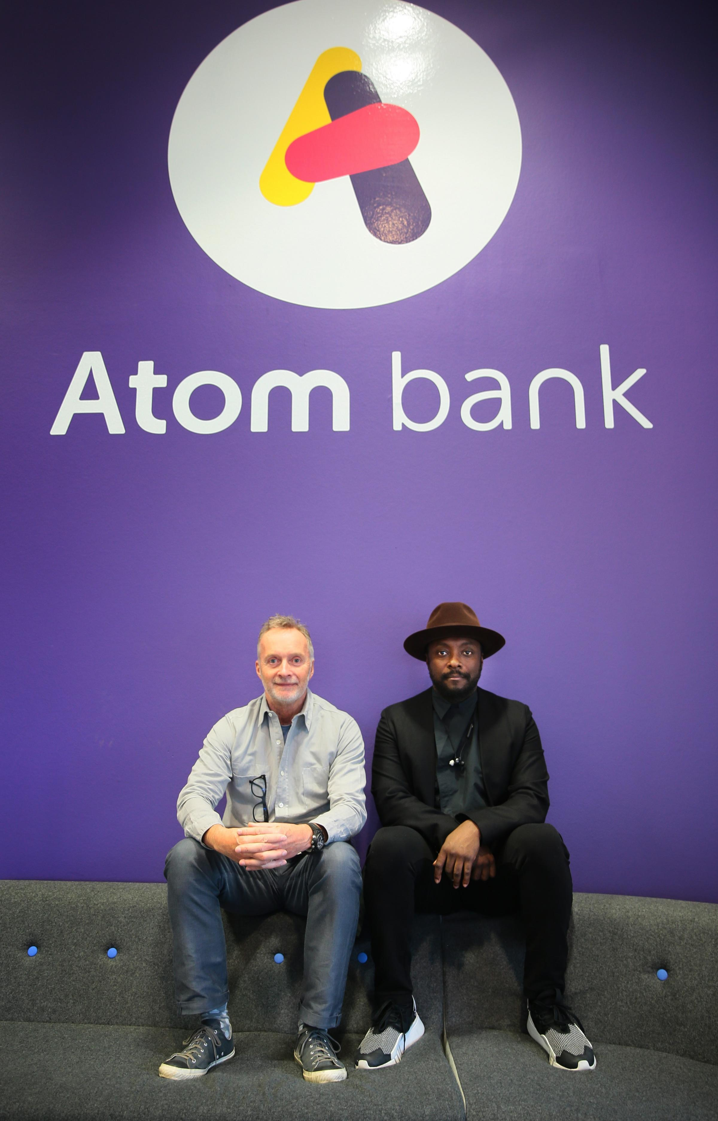 CHANGE: Anthony Thomson, left, with popstar Will.i.am, is stepping down as chairman at Atom bank