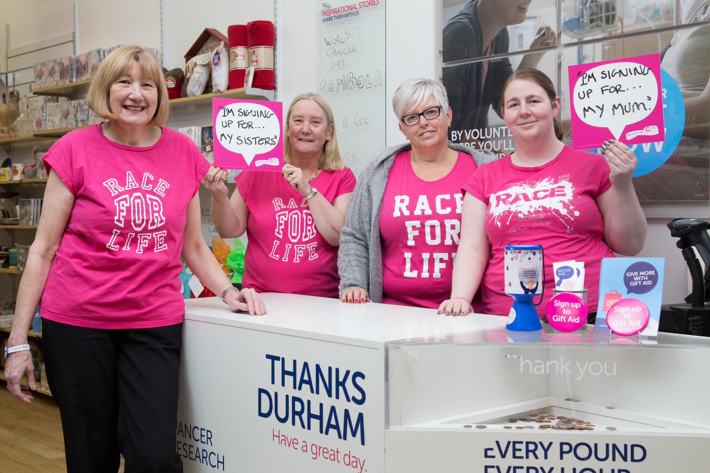 : Durham shop manager Rosemary Fowler with assistant manager Rachel Clark and volunteers Margi Kemp and Jen Hill