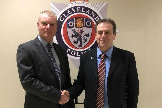 Cleveland's new chief constable Mike Veale, left, with the force's police and crime commissioner Barry Coppinger