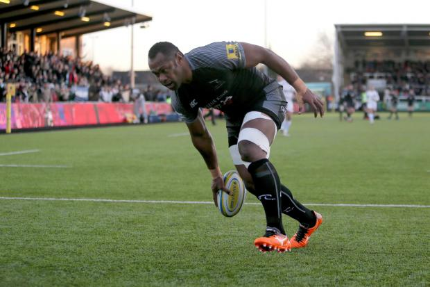 The Northern Echo: Newcastle Falcons Vereniki Goneva runs in his try during the Aviva Premiership match at Kingston Park, Newcastle. PRESS ASSOCIATION Photo. Picture date: Sunday January 7, 2018. See PA story RUGBYU Newcastle. Photo credit should read: Richard Sellers/PA Wi