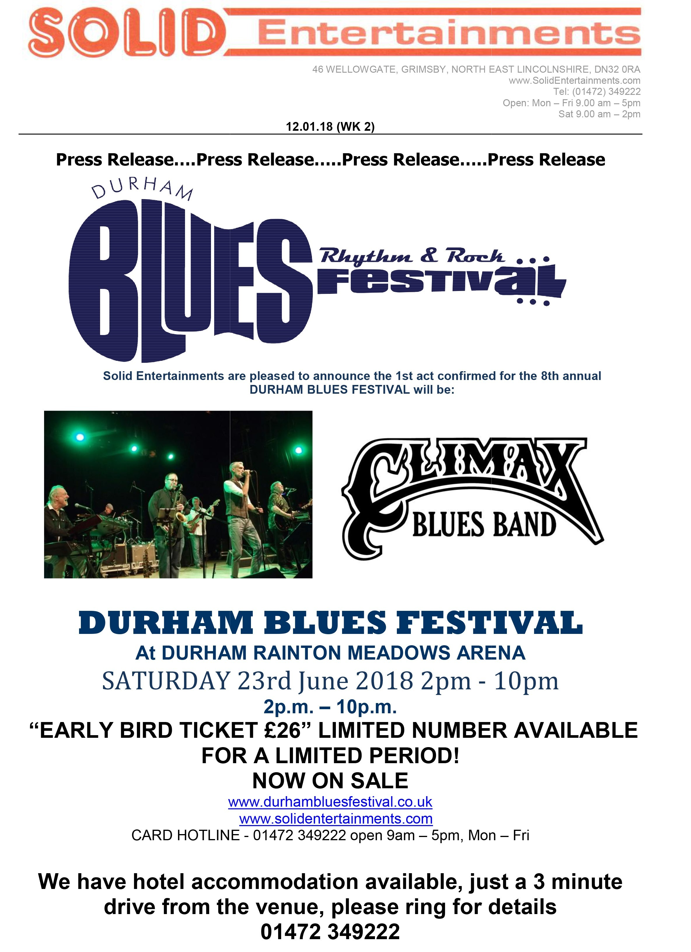 BluesFest: Eighth Durham Blues Festival line-up and times confirmed