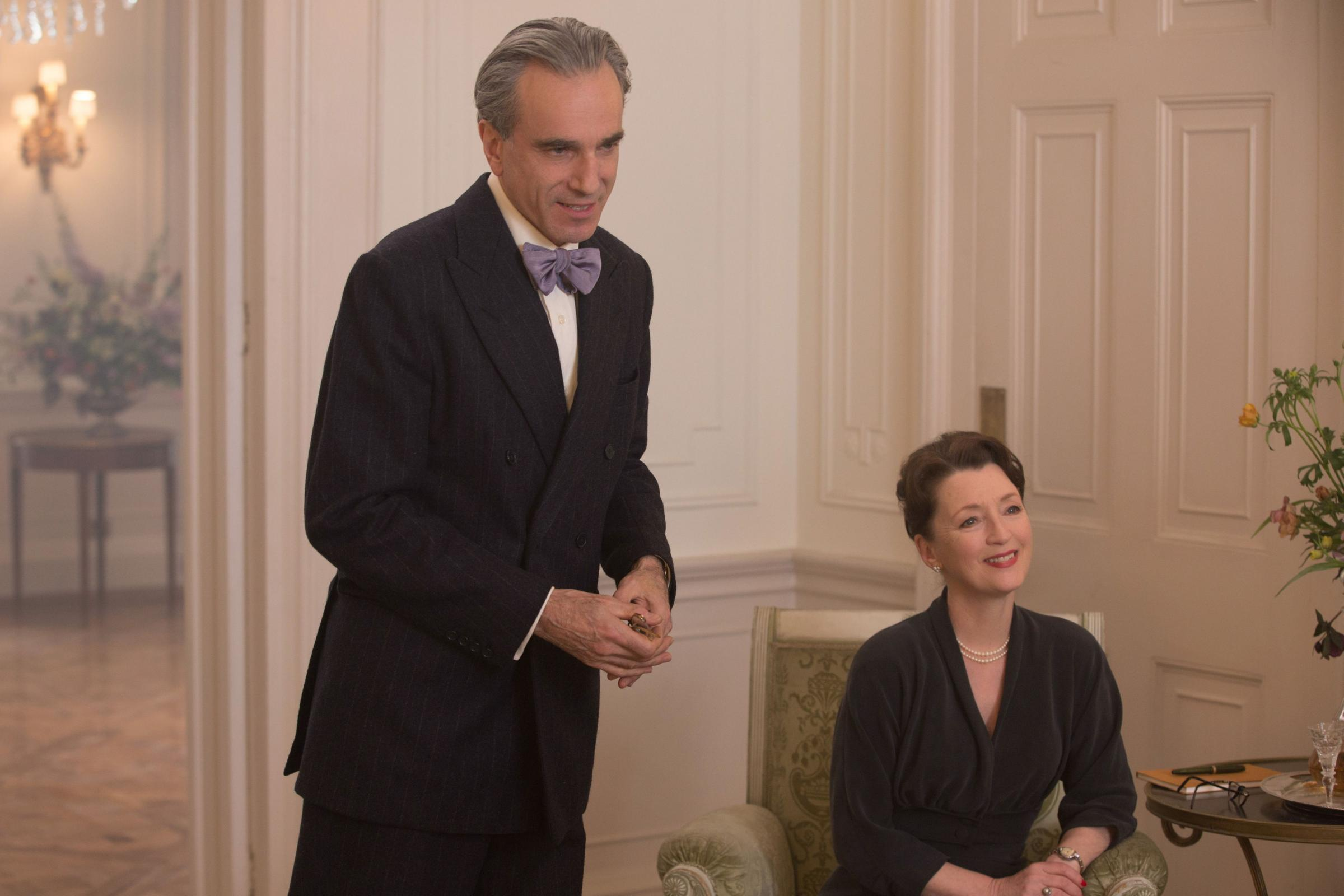 Phantom Thread. Pictured: Daniel Day-Lewis as Reynolds Woodcock and Lesley Manville as Cyril