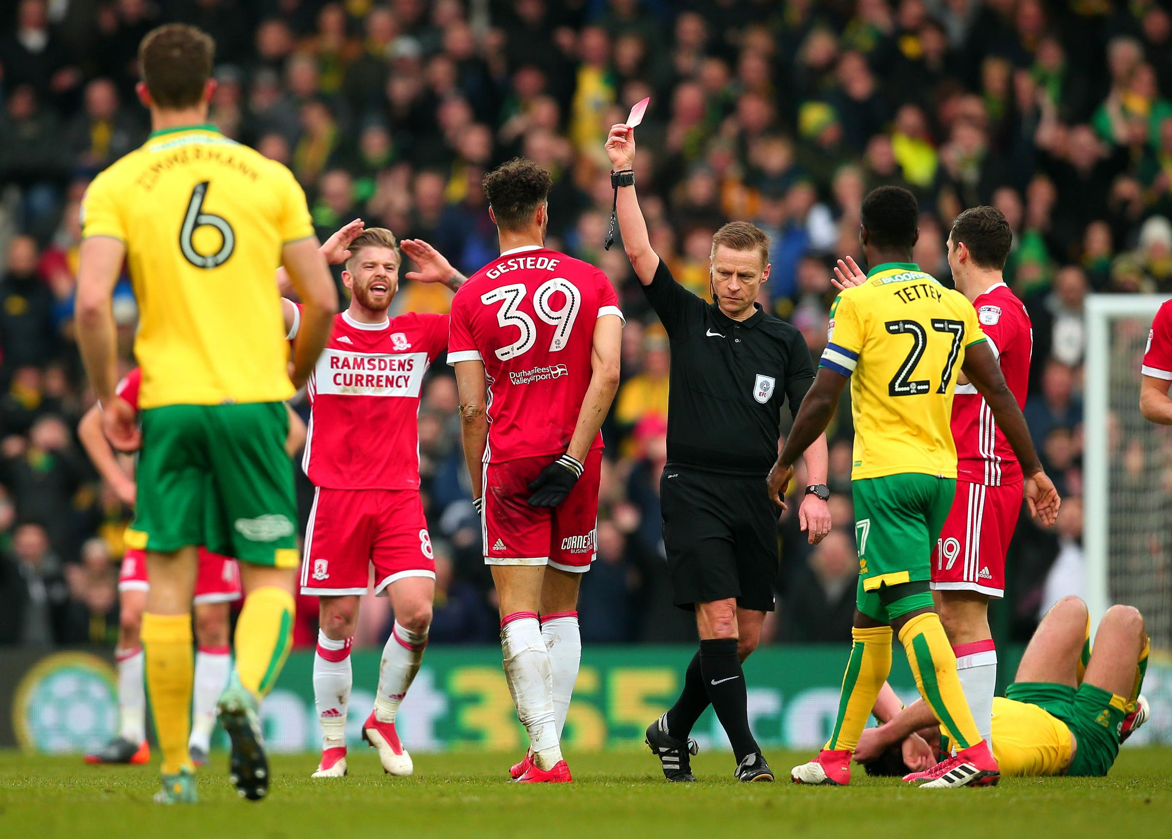 SENT OFF: Mike Jones issues Rudy Gestede with a straight red card during Middlesbrough's 1-0 defeat to Norwich (Picture: Joe Meredith)