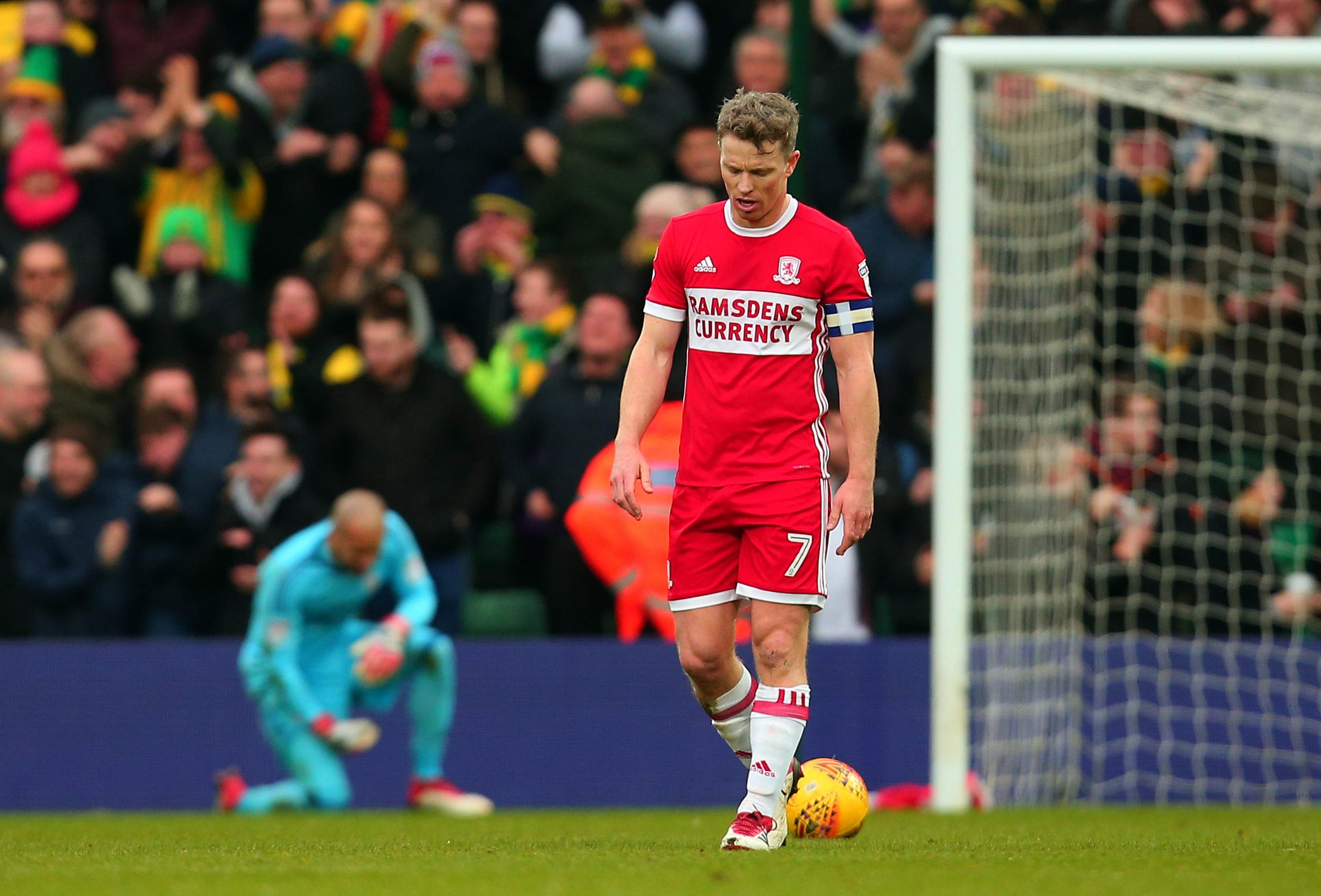 BAD DAY: Grant Leadbitter shows his disappointment during Middlesbrough's 1-0 defeat to Norwich (Picture: Joe Meredith)