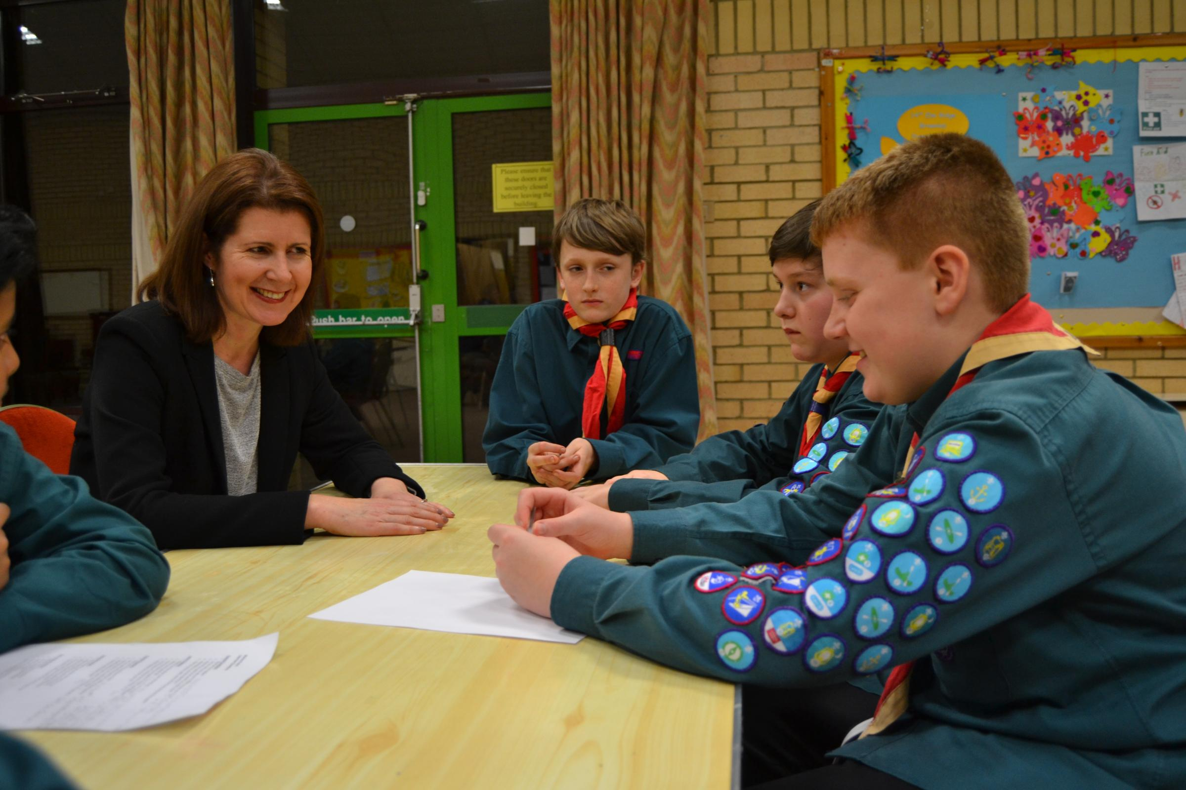 VISIT: Jenny Chapman with the scouts