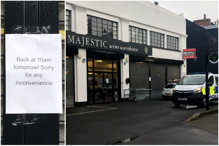 The Majestic Wine Warehouse was closed temporarily on Tuesday following a knifepoint robbery