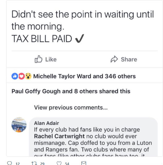 Rachel Cartwright, who launched an online fund raising campaign to save the club, paid the outstanding bill of around £48,000. Picture: FACEBOOK/RACHEL CARTWRIGHT