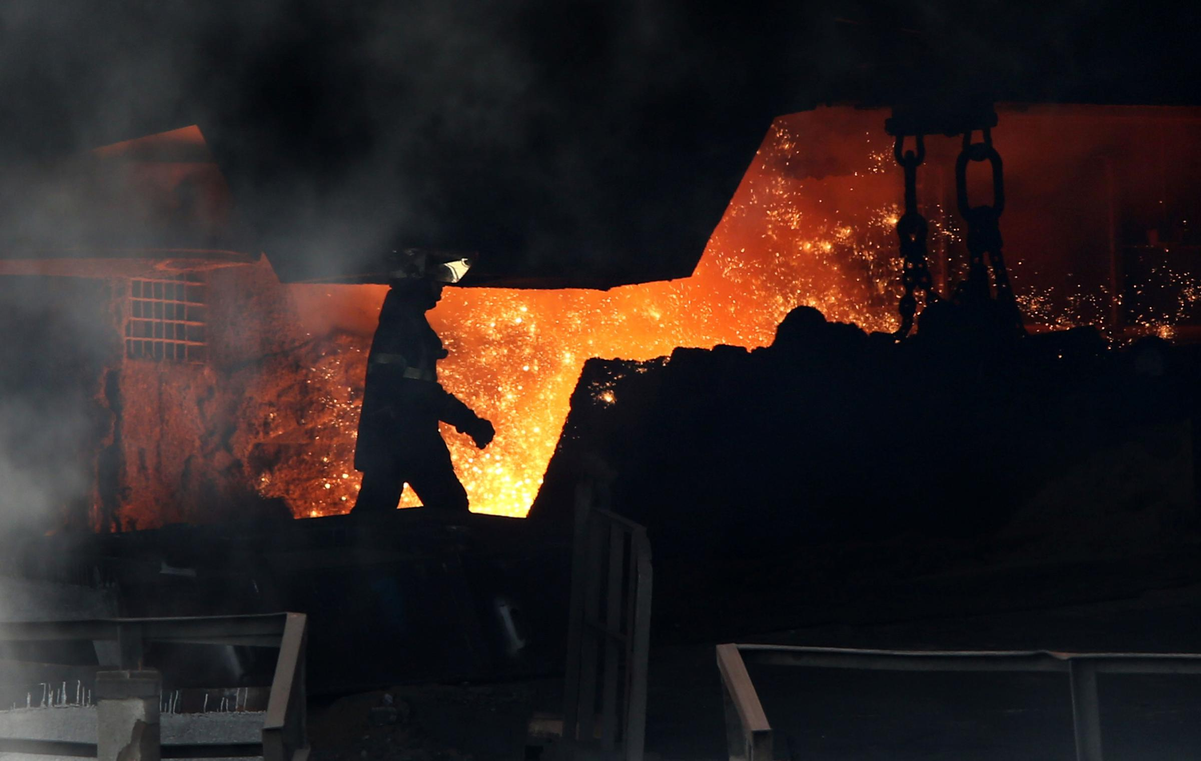 LOSS: A worker at SSI UK's former Redcar site on the day the company suspended steelmaking    Picture: TOM BANKS