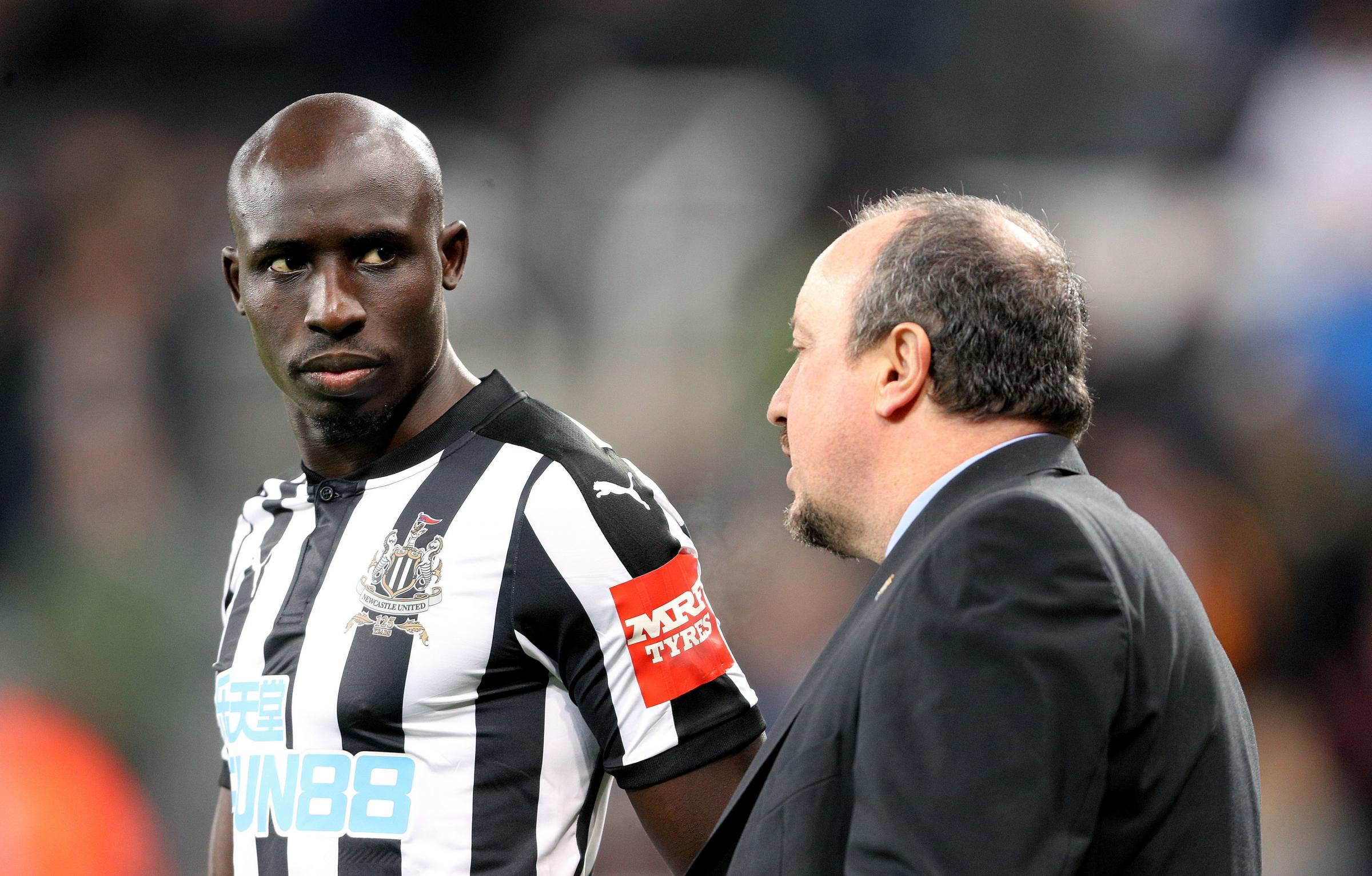 FIT: Newcastle United's Mo Diame (left) is fit to play for manager Rafael Benitez tomorrow against Manchester United