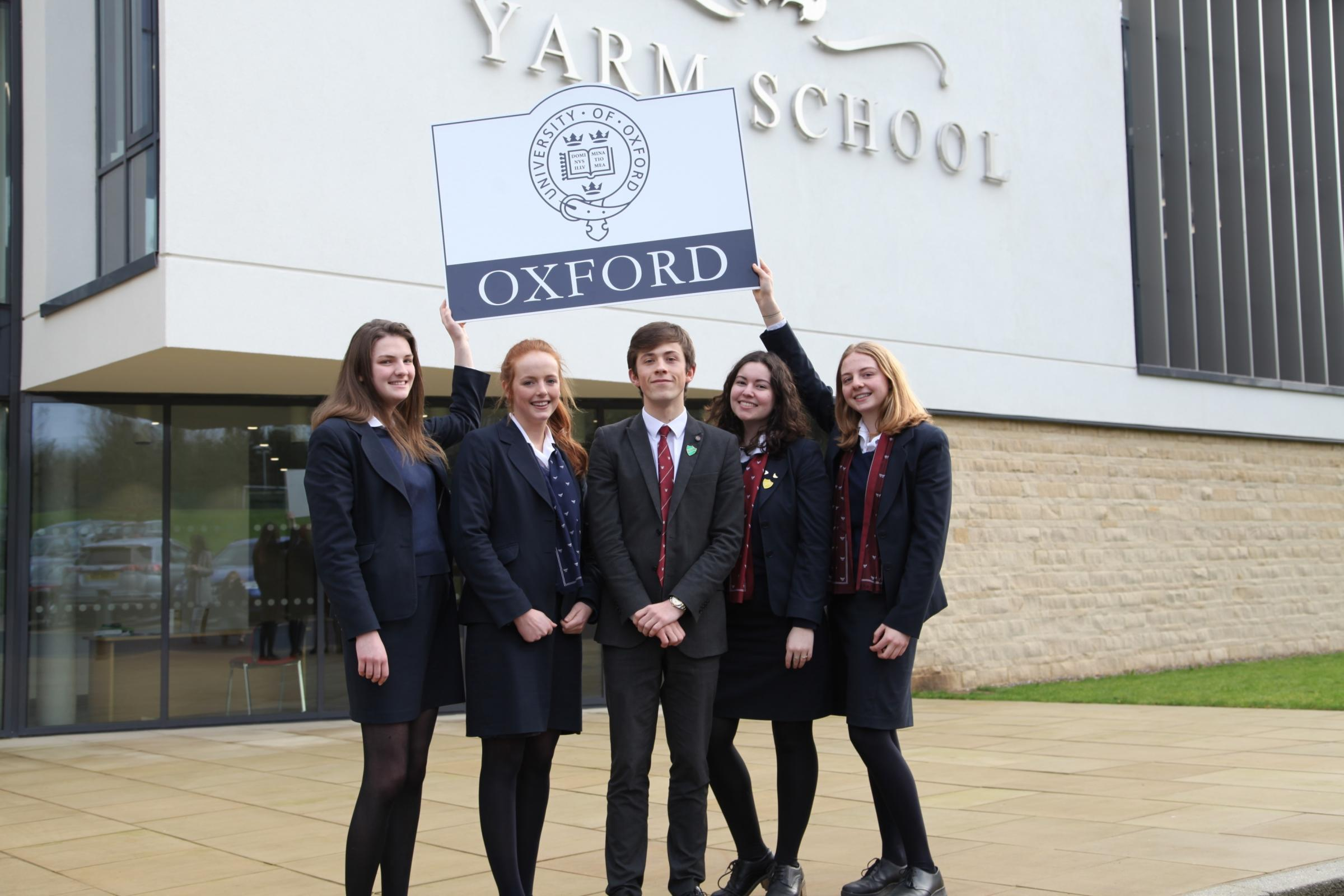 From left, Yarm School students, Isobel Jury, Katie Anderson, Michael Lister, Sophie Elliot and Phoebe White