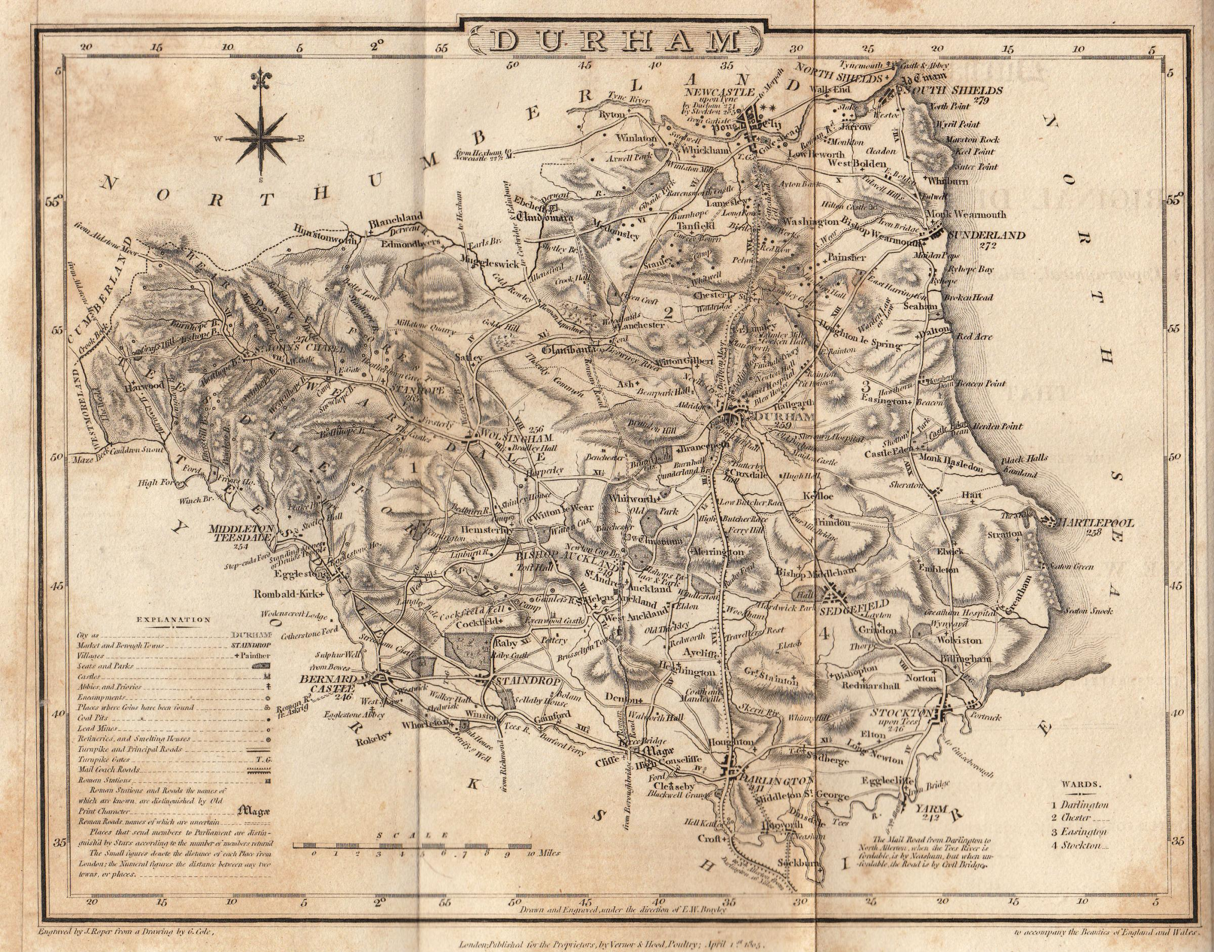 1805 map of County Durham from a book published in 1818, Durham, or General Delineations of That County, by EW Brayley and J Britton