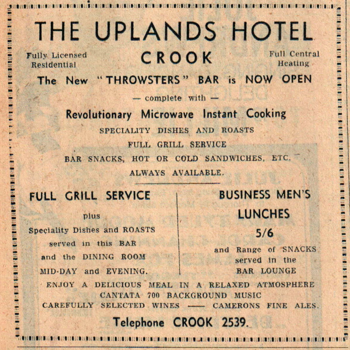 TASTY ADVERT: The Uplands Hotel boasts of