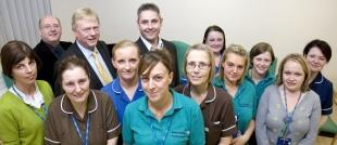 CARE TEAM: Staff from the stroke unit with Professor Roger Boyle, back row, second from left