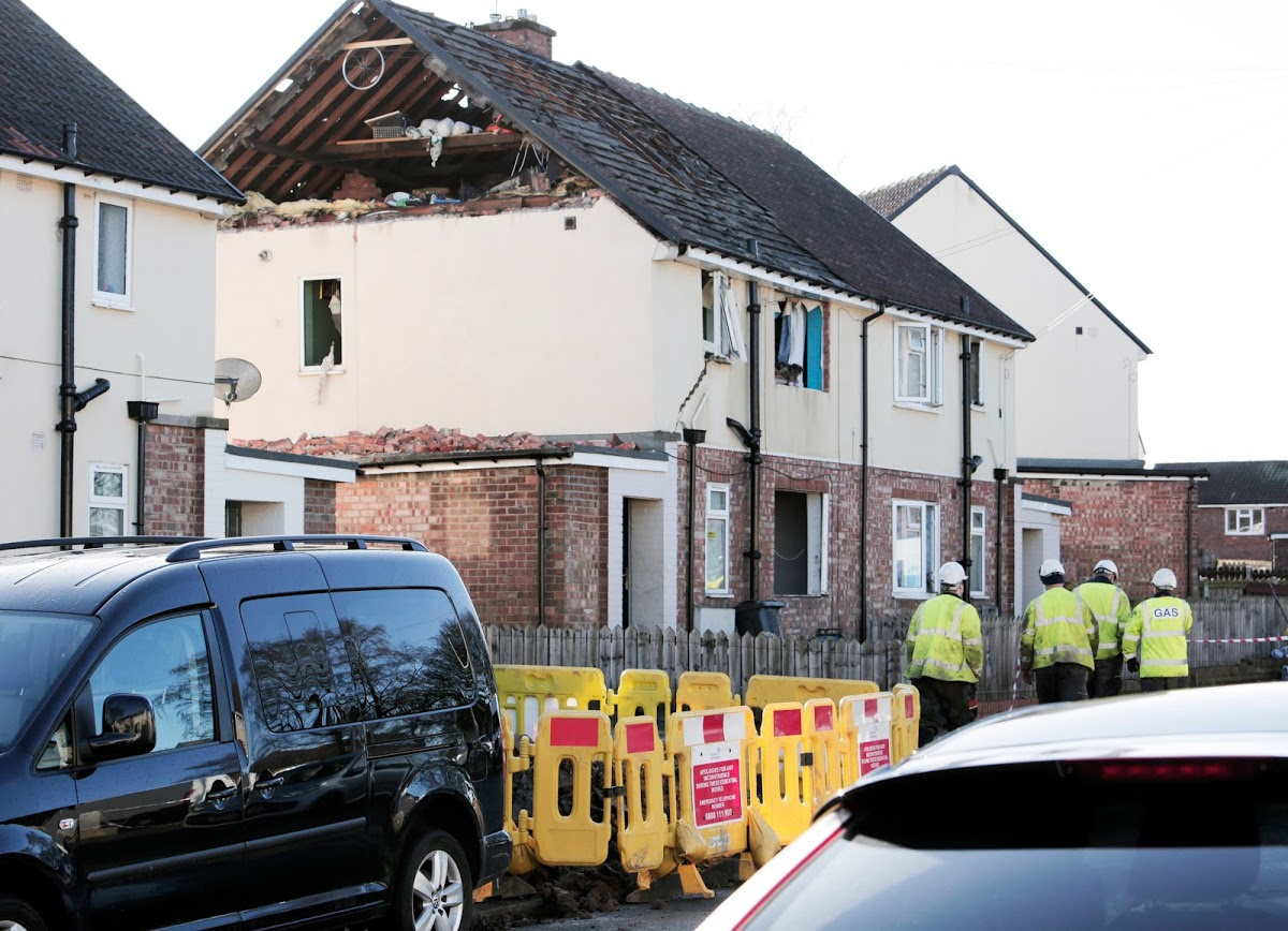 The scene at the house at Wordsworth Road in Darlington. Picture: STUART BOULTON