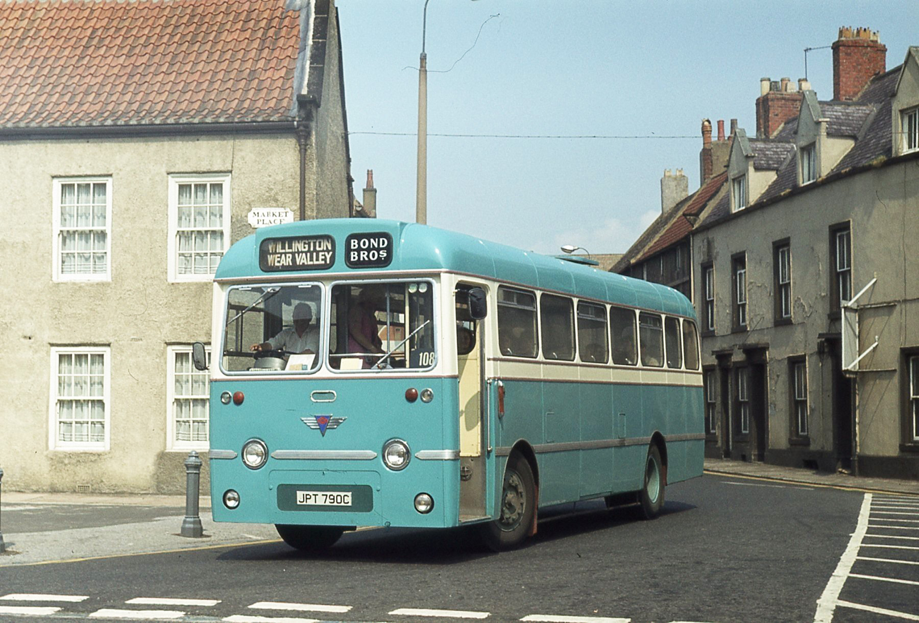 BOUND FOR HARPERLEY? A light blue Bond Bros bus turning into Bishop Auckland Market Place